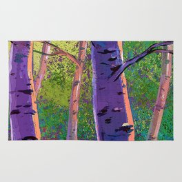 Poplars in winter at the sunset Rug