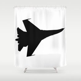 F16 Flying Jet Silhouette Shower Curtain