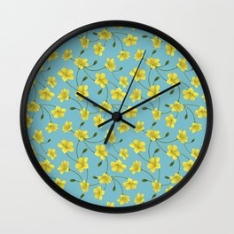 Pattern of yellow flowers in light blue background Wall Clock