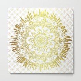 'Passage To Shamballa' White & Gold Mandala Metal Print