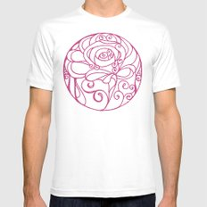 Scarred Rose Mens Fitted Tee MEDIUM White