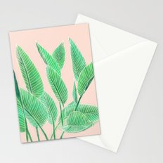 Modern pink tropical green watercolor hand painted leaf pattern Stationery Cards
