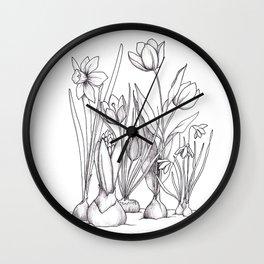 Spring Flowering Bulbs Wall Clock