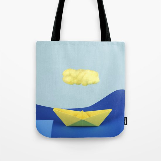 The yellow cloud over the yellow ship Tote Bag
