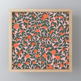 Oranges and Leaves Pattern - Pink Framed Mini Art Print