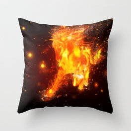 Running fire horse design Throw Pillow
