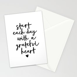 Start Each Day With a Grateful Heart black and white typography minimalism home room wall decor Stationery Cards