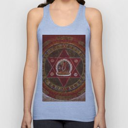 Vajrayogini stands in the center of two crossed red triangles Unisex Tank Top