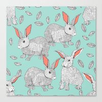 rabbits Canvas Prints featuring Rabbits by Wee Jock
