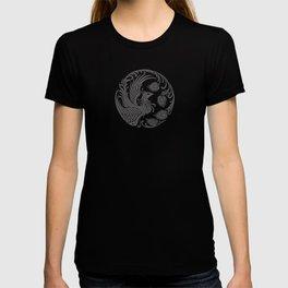 Traditional Gray and Black Chinese Phoenix Circle T-shirt