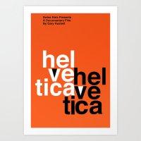 helvetica Art Prints featuring Helvetica by Axellvak