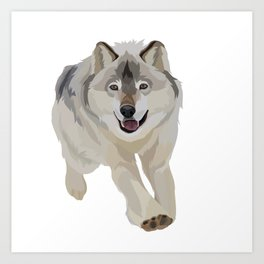 Gray Wolf Good Boy Art Print
