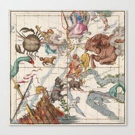 Vintage Constellation Map - Star Atlas Canvas Print