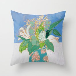 Lily and Eucalyptus Bouquet in Blue and Peach Floral Vase Throw Pillow