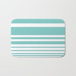 Scandi Pastel Mint Stripes Bath Mat