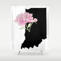 indiana Shower Curtains featuring Indiana Silhouette by Ursula Rodgers