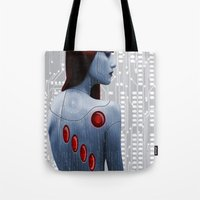 android Tote Bags featuring Android by Slaughterhouse Art Studio