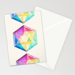 Retro Rainbow Patchwork Hexagon Stationery Cards