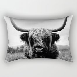 Scottish Highland Cattle Black and White Animal Rectangular Pillow