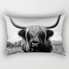 Scottish Highland Cattle Black and White Animal Rectangular Pillow