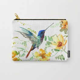 Hummingbird and Flowers, floral design Hawaiian tropical Carry-All Pouch