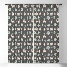Cute Llamas & Amaryllis Floral Pattern Blackout Curtain