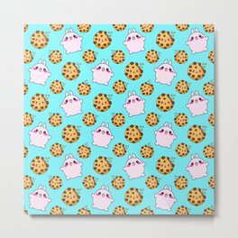 Cute funny Kawaii chibi little pink baby bunnies, happy sweet cheerful chocolate chip cookies cartoon light pastel blue pattern design. Metal Print