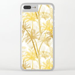 Modern tropical sunshine yellow gold palm tree Clear iPhone Case