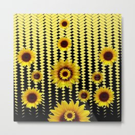 YELLOW SUNFLOWERS BLACK ABSTRACT PATTERNS ART Metal Print