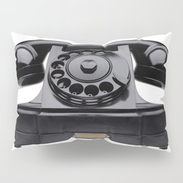 Old black telephone, middle of 20th century, aged and scuffed Pillow Sham