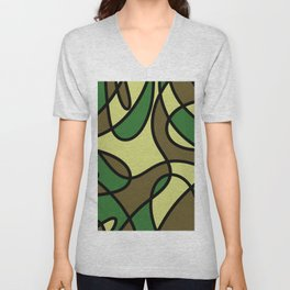 Camo Curves - Abstract, camouflage coloured pattern Unisex V-Neck