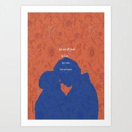 We are All Fools in Love_Pride and Prejudice_Jane Austen quote. Art Print