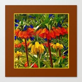 COFFEE BROWN YELLOW & ORANGE CROWN IMPERIALS GARDEN Canvas Print