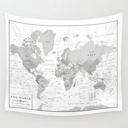 World Map [Black and White] Wall Tapestry