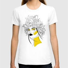 Woman with Flower I Yellow T-shirt