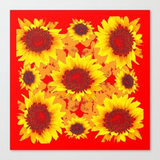 Decorative Golden Yellow Red Sunflowers Patterns Canvas Print