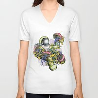 spaceman V-neck T-shirts featuring SPACEMAN by • PASXALY •