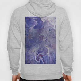 Fluid Art Acrylic Painting, Pour 4 - Purple, Blue & White Blended Color Hoody