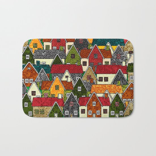 Small Mosaic Village Bath Mat
