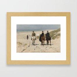 Anton Mauve - Morning Ride along the Beach(Scheveningen) (1876) Framed Art Print