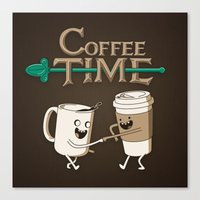 coffee Canvas Prints featuring Coffee Time! by powerpig