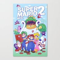mario bros Canvas Prints featuring Mario Bros. 2 nostalgia  by Damon Fernandez