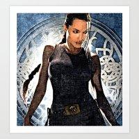 lara croft Art Prints featuring Angelina Jolie as Lara Croft by Brian Raggatt