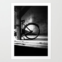 Old bicycle in a dusty attic Art Print