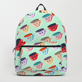 Cute smiling mugs pattern Backpack