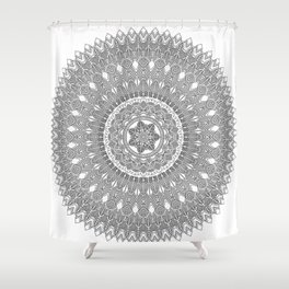Black and White Feather Mandala Boho Hippie Shower Curtain