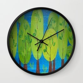 Green Trees Whimsical Folk Art Wall Clock