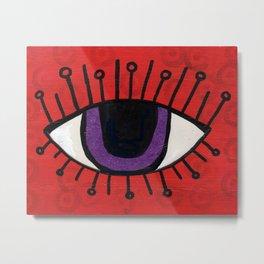 Evil Eye on Red Metal Print