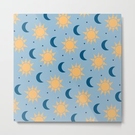 Sun & Moon Pattern - Light Blue Metal Print