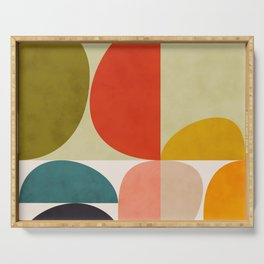 shapes of mid century geometry art Serving Tray
